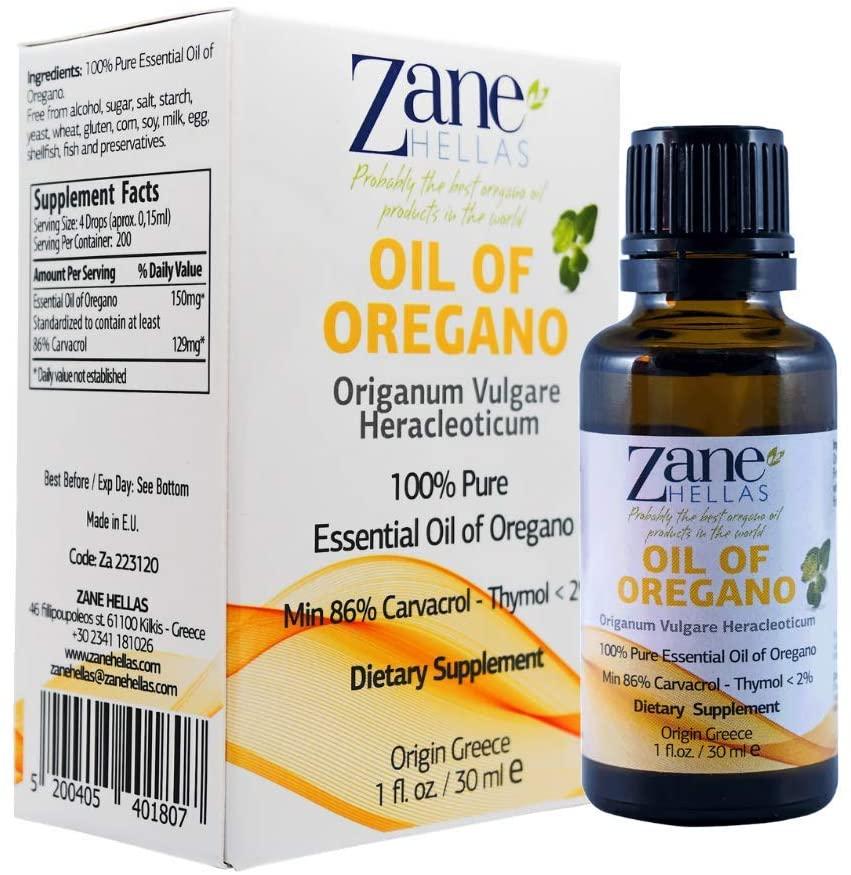 Zane Hellas 100% Undiluted Oregano Oil. Pure Greek Essential Oil of Oregano .86% Min Carvacrol. 129 mg Carvacrol Per Serving. Probably The Best Oregano Oil in The World.2fl. oz. -60 ml (Pack 2)