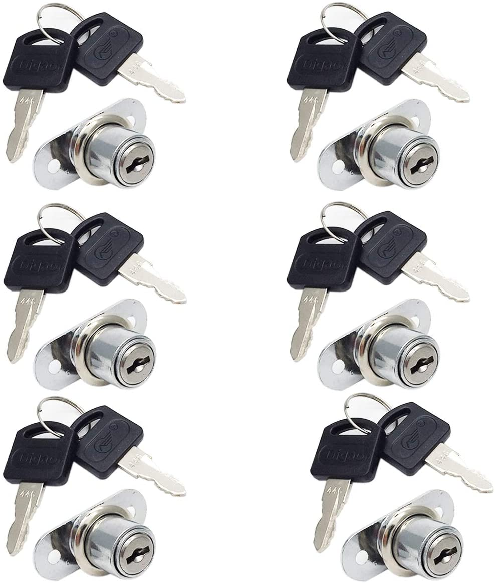 COMOK 6Pcs Stainless Steel Cylinder Cam Drawer and Cabinet Lock with 6 Keys - Secure Important Files and Drawers, 5 x 3.8 x 2.6cm/1.9