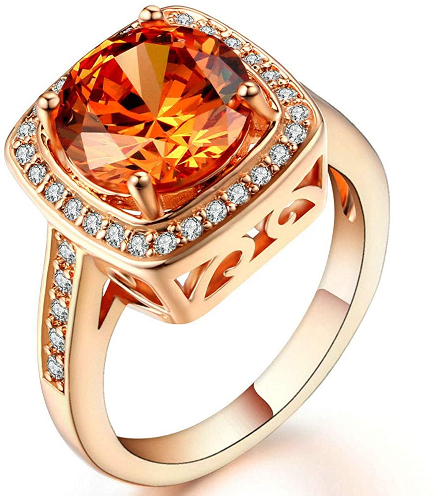 AONEW Wedding Bands for Women Anniversary Promise Ring Rose Gold Round Champagne Gold Cz Size 5.5-10