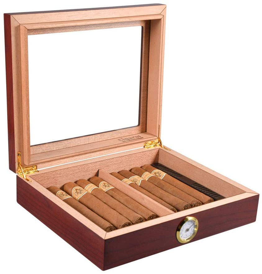 NACHEN Cigar Case Cigar Humidor High Gloss Lacquer Handcrafted Cedar Cigar Desktop Box with Front Digital Hygrometer and Humidifier Glass Top for Cigars 10-15 Cigars