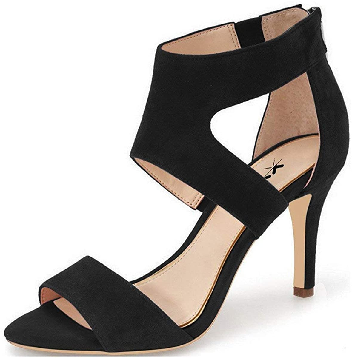 XYD Prom Dancing Shoes Elegant Open Toe Strappy Heeled Sandals Ankle Wrap Dress Pumps for Women