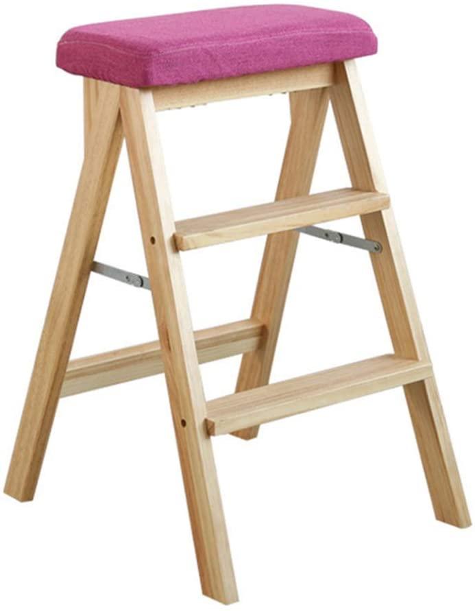 WLG Step Stool for Adults Solid Wood Ladder Multifunction Folding Kitchen 3 Step Mini Stepladder Removable Cushion / K2 / k2