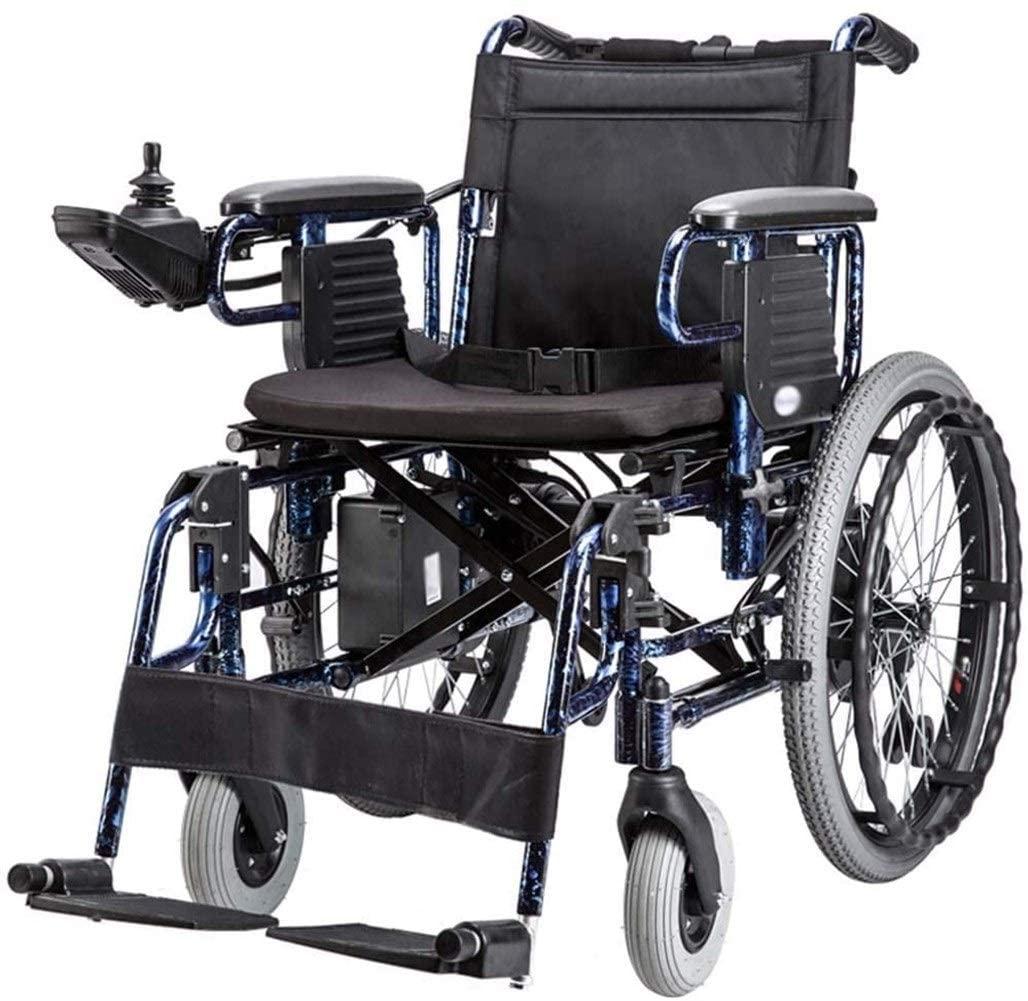 BXZ Wheelchair Heavy-Duty Electric Wheelchair, Foldable, 32Kg Lightweight Power Wheelchair, 360° Rocker, Seat Width 45 cm, Support 150 Kg for Disabled Elderly