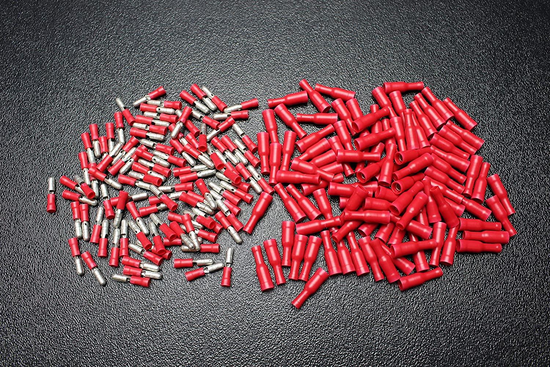 400 PK 18-22 Gauge Vinyl Bullet CONNECTORS 200 PCS Each Male Female Terminal