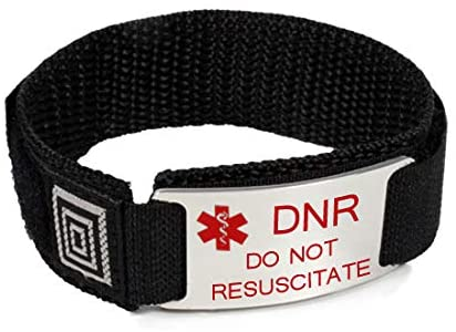 DO NOT RESUSCITATE and DNR Medical ID Alert Bracelet with Black Wrist Band.