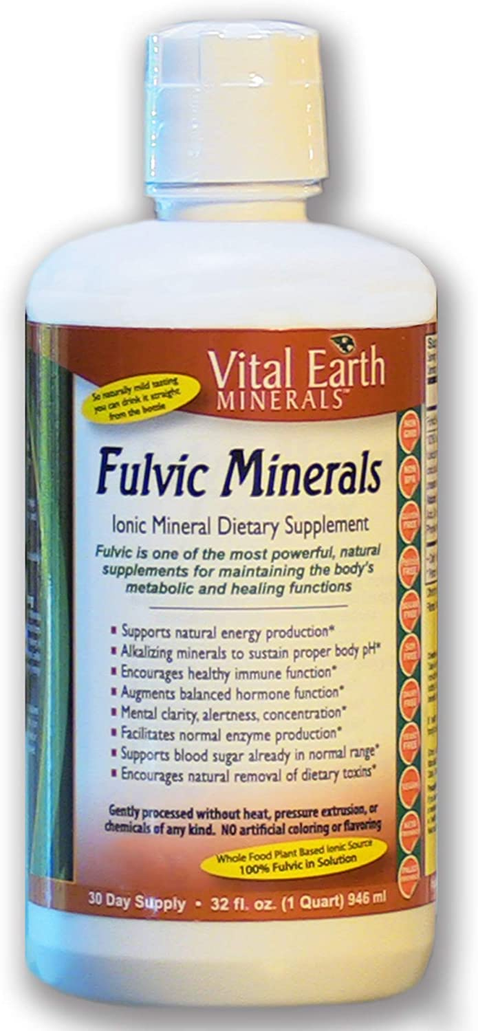Fulvic Minerals - 32 Fl. Oz. - One Month Supply - Vegan Liquid Trace Mineral Multimineral Supplement - Almost Tasteless - Whole Food Plant-Based Ionic Minerals - by Vital Earth Minerals