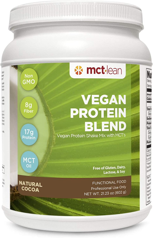 MCT Lean Vegan Protein Powder Blend by Karen Malkin Health   Non-GMO   17 Grams Protein   8 Grams Fiber   14 Servings   Natural Cocoa   2-Day Shipping
