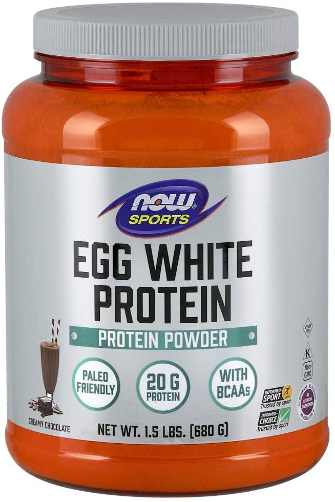 NOW Sports Nutrition, Egg White Protein, 20 G With BCAAs, Creamy Chocolate Powder, 1.5-Pound