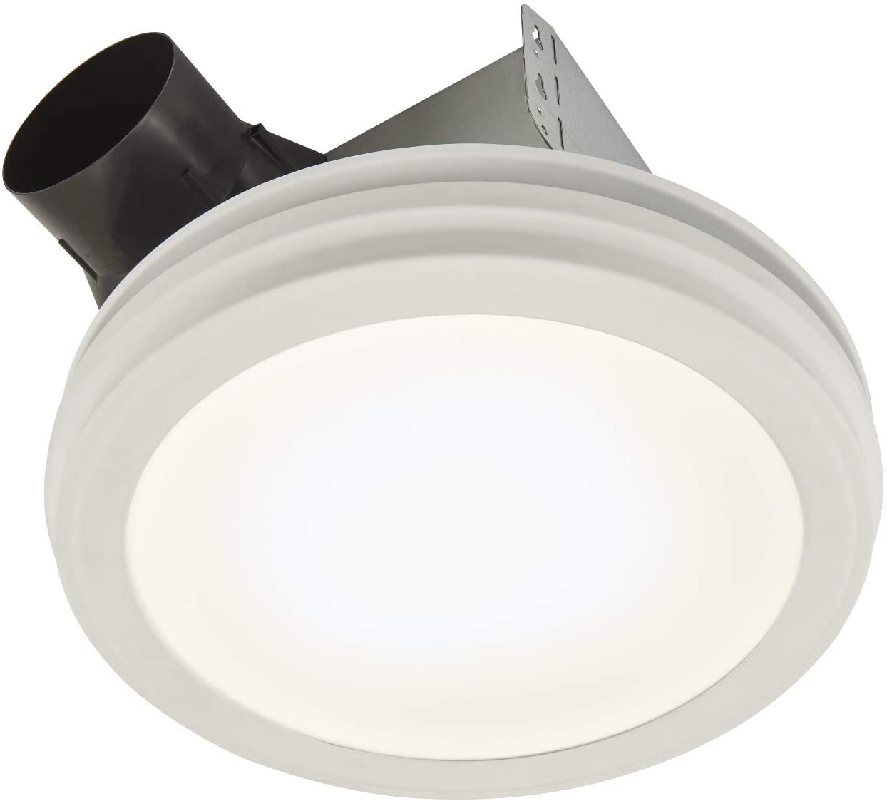 Broan-NuTone AER110SLW Roomside Humidity Sensing Exhaust Round Flat Panel LED Light, White, Energy Star Certified, 110 CFM, 1.5 Sones Bath Fan