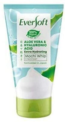 Eversoft Aloe Vera & Hyaluronic Acid Extra Hydrating Mochi Whip Cleanser 120g-• Dewy and Bouncy Skin • Moisture Balanced Skin