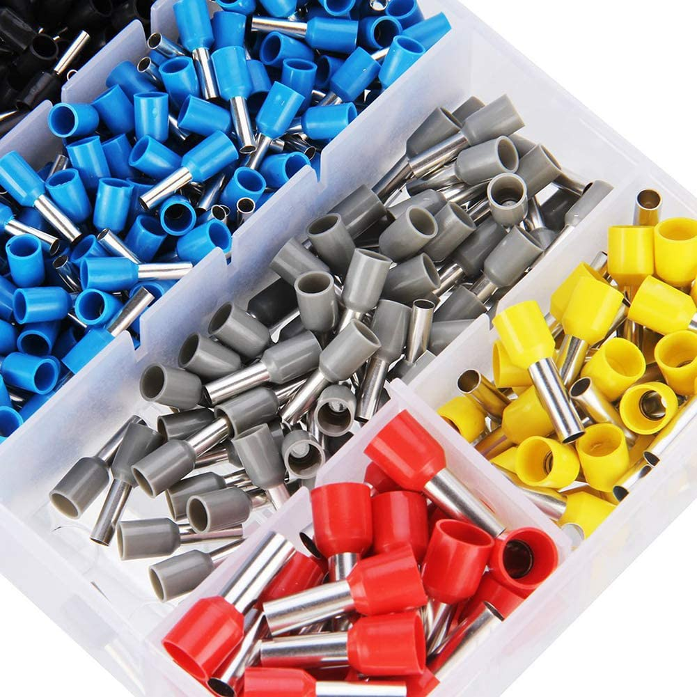Ferrule Terminal Connectors, Ferrule Crimping Plier Tools with 1200Pcs Wire Ferrule Terminals Kit Insulated 0.25-6.0Mm², AWG 23-10 Crimp Tool Kit for Wiring Projects,2pack