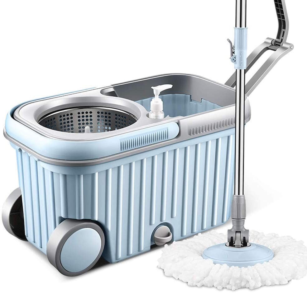 XZTB Mop 360 Spin Luxury and Bucket Set with 2 Pieces Free Microfibre Head - 360 Degree Rotable - Stainless Steel Drainage Basket