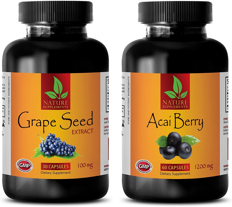 antioxidant Vitamin e Supplement - ACAI Berry - Grape Seed Extract - acai Berry Capsules - (2 Bottles Combo)