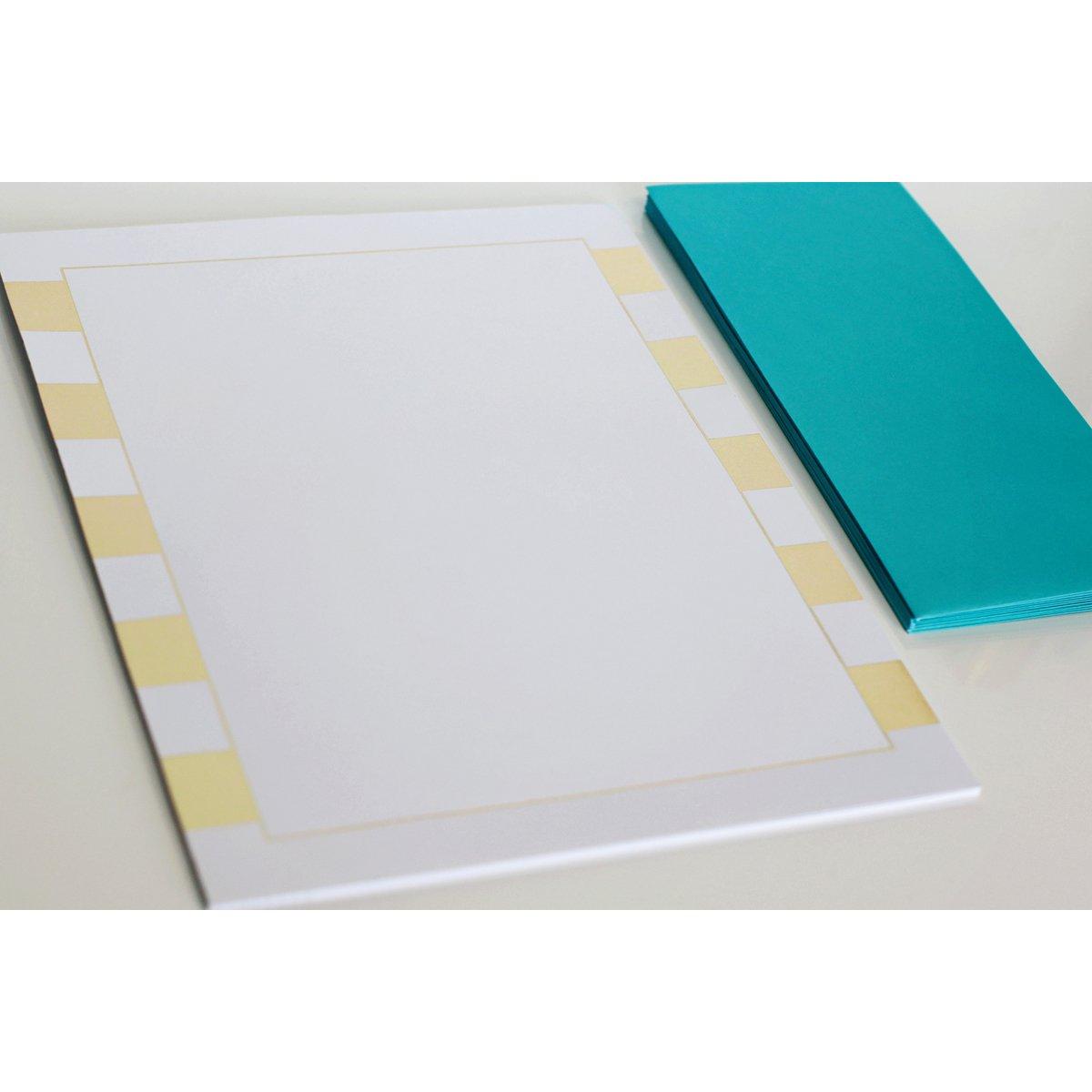Studio Gold Foiled Stationery 8.5X11 12/Pkg-Stripes