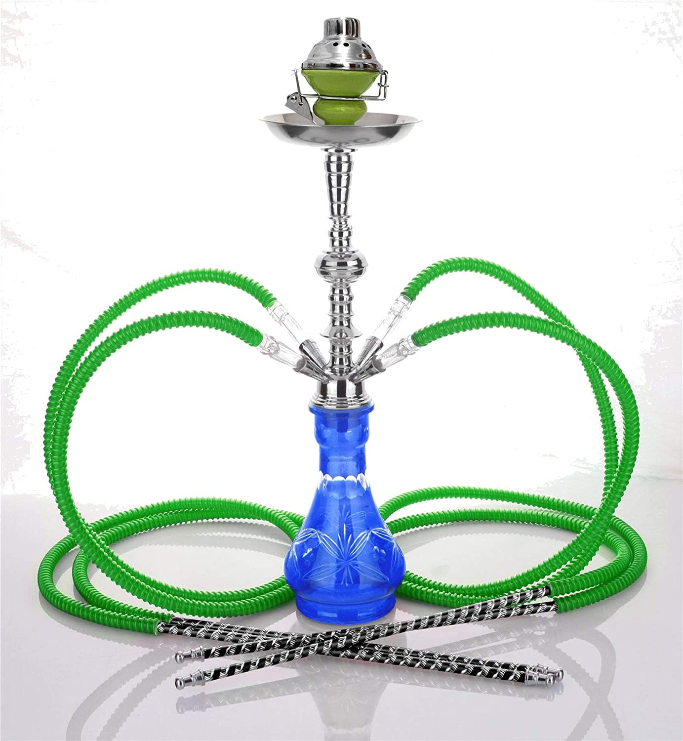 Medium Black 4 Hose Hookah no Tobacco no Nicotine + Wind Cover Shisha Pipe Set narghile narguile Chicha