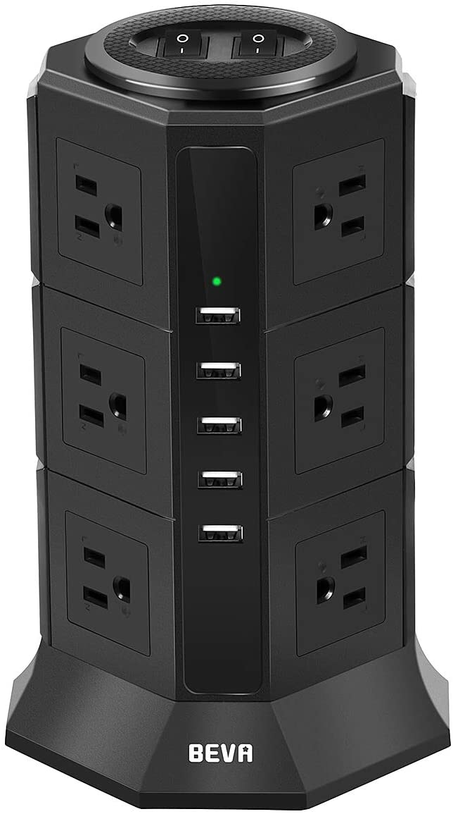 Power Strip Tower-BEVA Surge Protector 12 AC Outlets with 5 USB Ports Desktop Charging Station, 15A/1875W, 1050 Joules, Multiple Protection, 6ft Long Cord Extension Cable for Home Office, ETL Listed