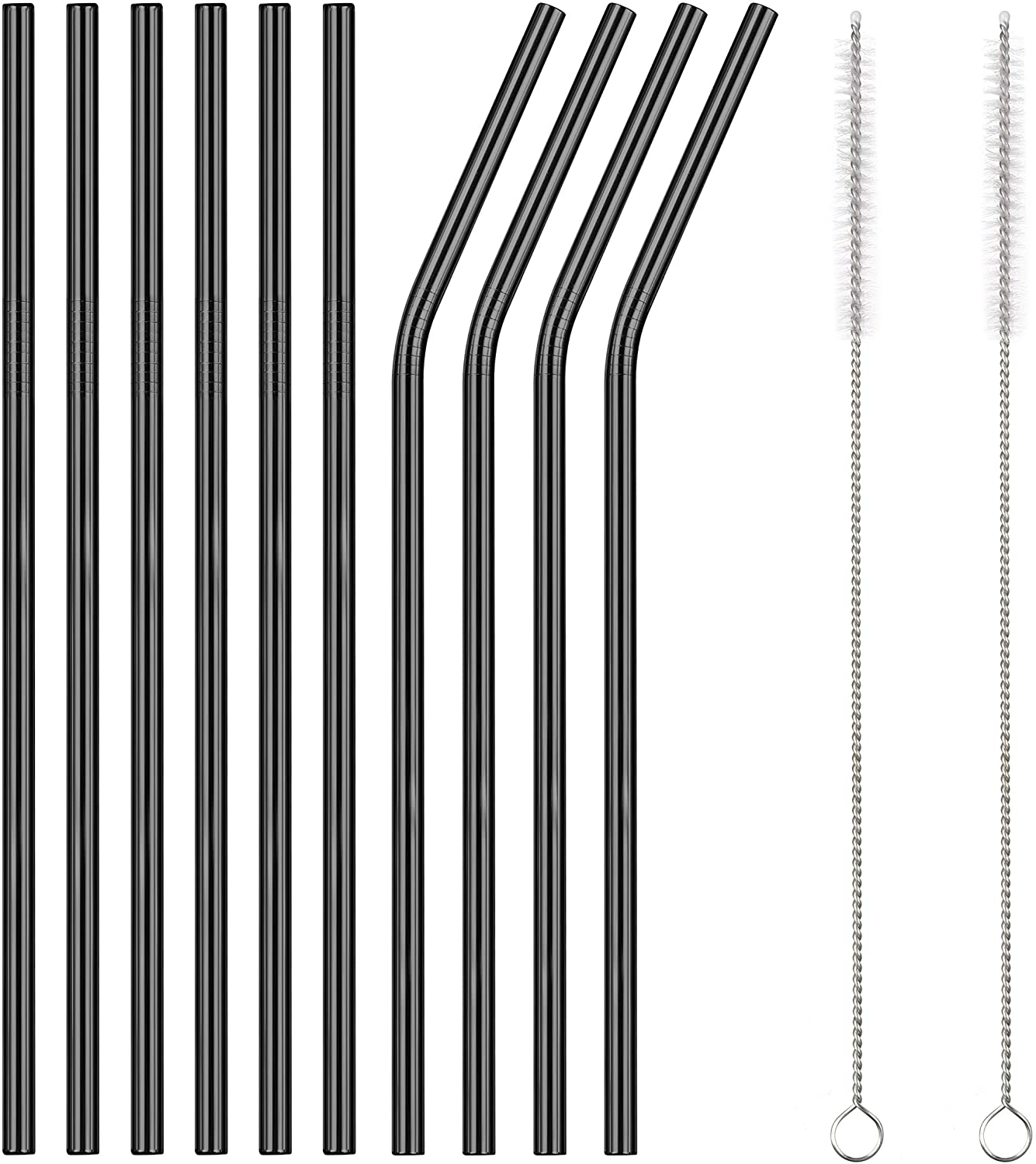 TDGOM 5 Color 12-Pack Stainless Steel Metal Straws Reusable with 2 Cleaning Brushes - Curved Drinking Straws for 20oz Tumblers Dishwasher Safe (Black)
