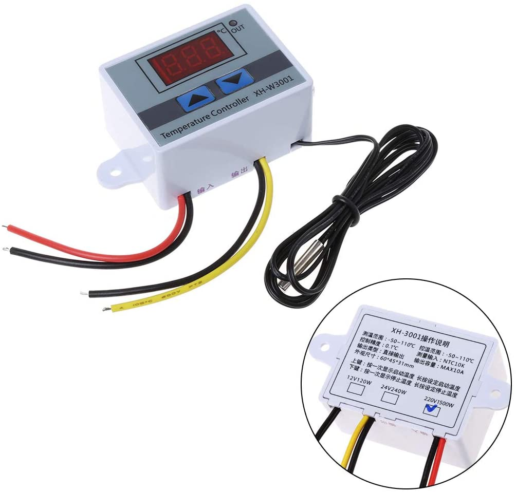 Rhfemd Pet Reptile Thermostat High-precision Temperature Switch Microcomputer Digital Display Hatching Controller 0.1 Degrees