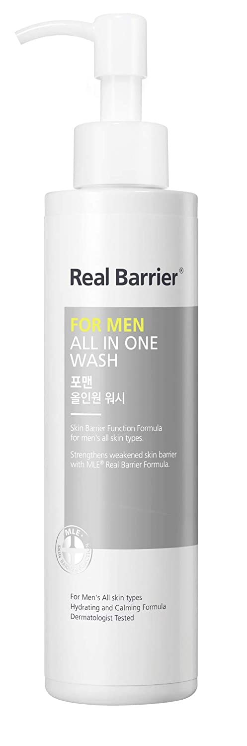 Real Barrier For Men All In One Wash / 6.76 Fl Oz, 200ml / Refreshing Face and Body Cleanser for All Men's Skin Types