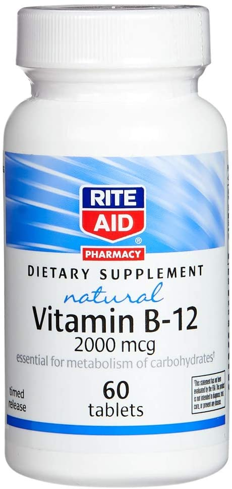 Rite Aid Vitamin B-12 Tablets, 2000 mcg - 60 Count   Vitamin b12 Supplement