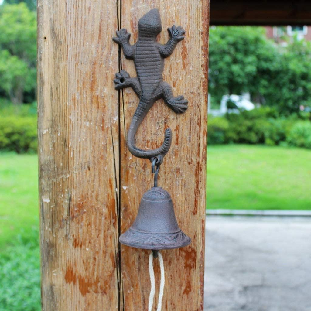Gecko doorbell Wrought Iron Villa Wind Chime Hand Crank doorbell Simple Retro cast Iron Crafts Wind Chime 9.8x14x34cm Cast Iron doorbell