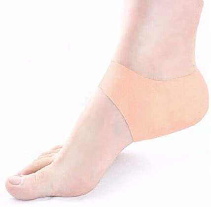 xinyuanjiafang 1 Pair Plantar Fasciitis Shock Absorbing Silicone Gel Sleeve Breathable Protective Heel Cracked Foot Skin Care Pain Relief,Beige