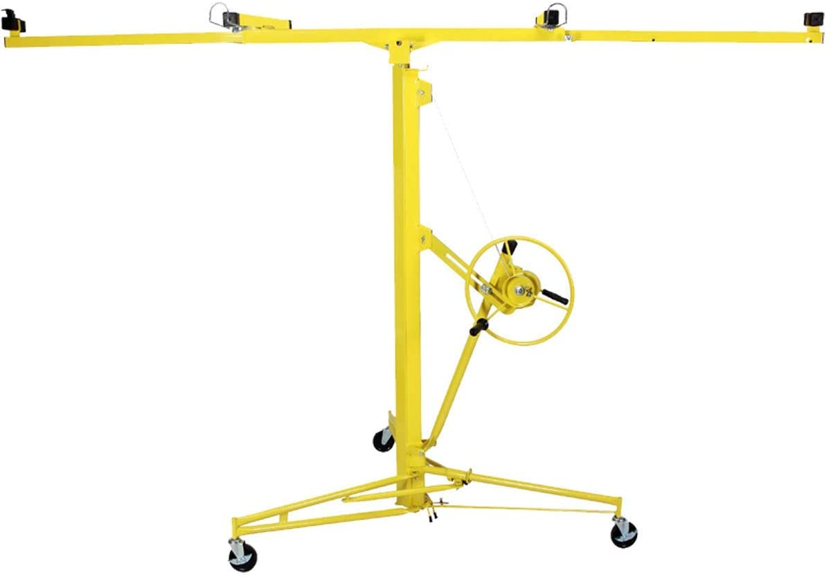 Selva 16-19' Drywall Panel Rolling Lifter Hoist Jack Tool Yellow | Durable Sturdy Heavy Duty Safe Lockable 150LB Capacity 4 Caster Wheels | For Home Commercial Use Construction DIY Projects Indoor