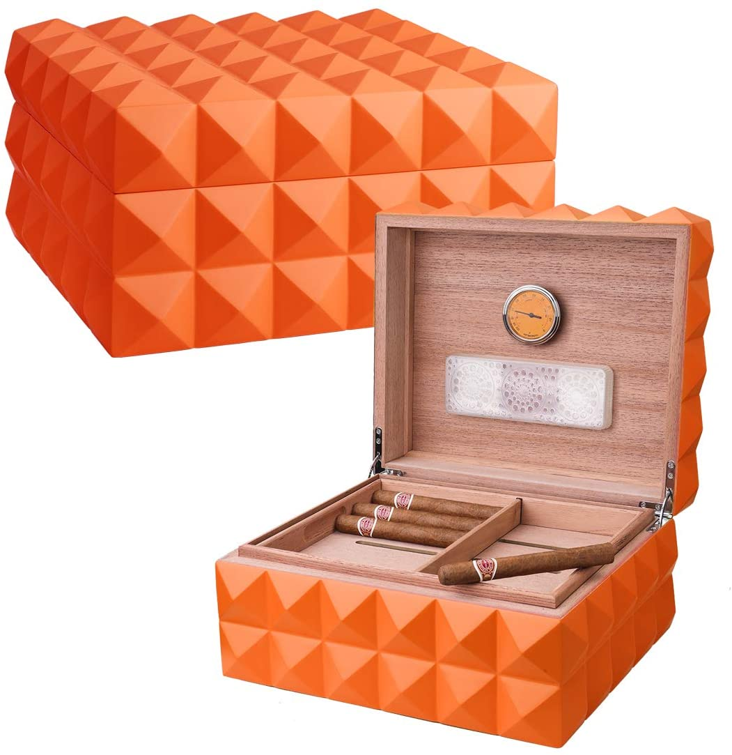 Cigar Humidor Case with Humidifier and Hygrometer, Orange, Spanish Cedar Wood (Holds Up to 100-125 Cigars)