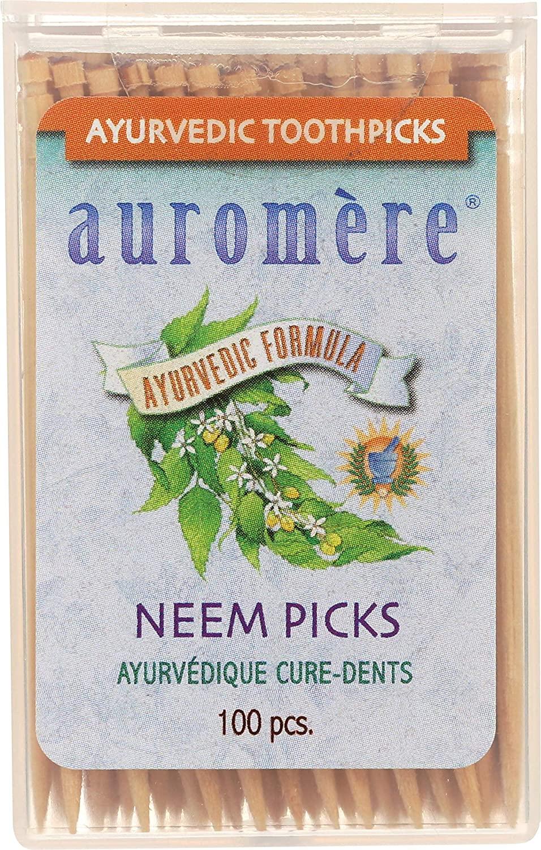 Auromere Ayurvedic Neem Toothpicks - Vegan, Natural, Non GMO, Made from Birchwood (100 Count) (1 Pack)