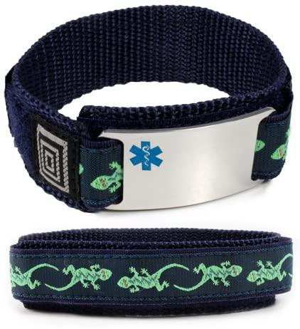 Organ Transplant Sport Medical ID Alert Bracelet with Lizard Adjustable Wristband (Hooks and Loops).