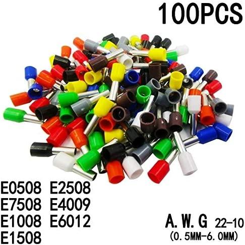 Onvas 100pcs/Pack E0508 E7508 E1008 E1508 E2508 Insulated Ferrules Terminal Block Cord End Wire Connector Electrical Crimp Terminator - (Color: Green, Pins: E0508)