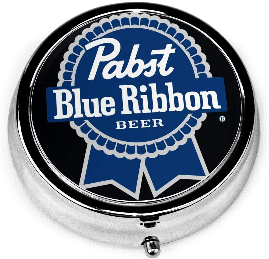Wehoiweh Pabst Blue Ribbon 2.0x2.0x0.7 Inch Mini Medicine Box, Full Size Printing is Easy to Carry
