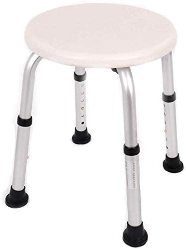 MMED Round Shower Bath Bathroom Seat Stool Disabled Bath Stool Aid Adjustable Height for Elderly Handicapped Max.150kg 0110