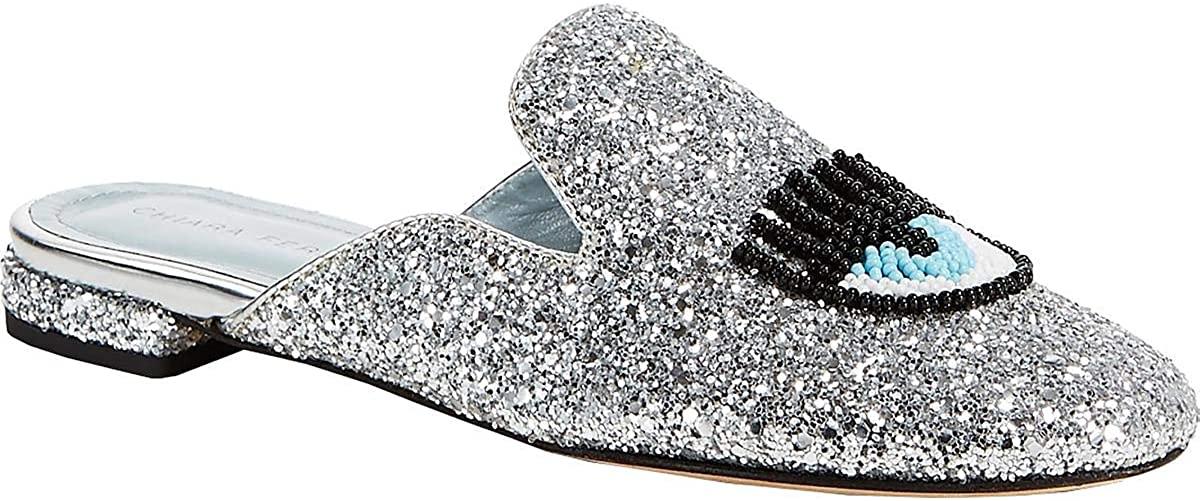 Chiara Ferragni Womens Sabot Glitter Slip On Mules