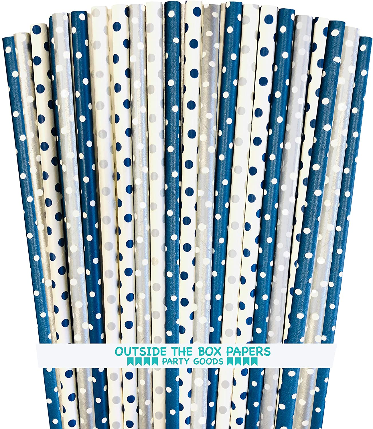 Navy Blue Silver and White Paper Straws - Polka Dot - 7.75 Inches - Pack of 100- Outside the Box Papers Brand