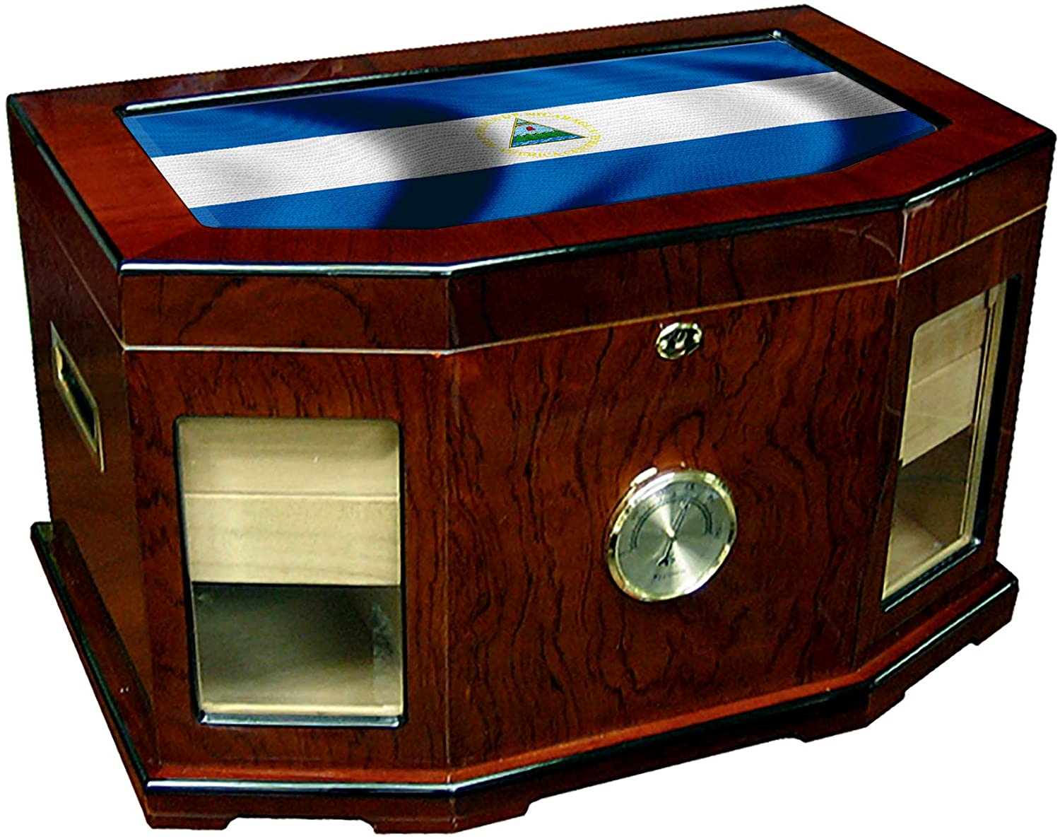 Large Premium Desktop Humidor - Glass Top - Flag of Nicaragua (Nicaraguan) - Waves Design - 300 Cigar Capacity - Cedar Lined with Two humidifiers & Large Front Mounted Hygrometer.