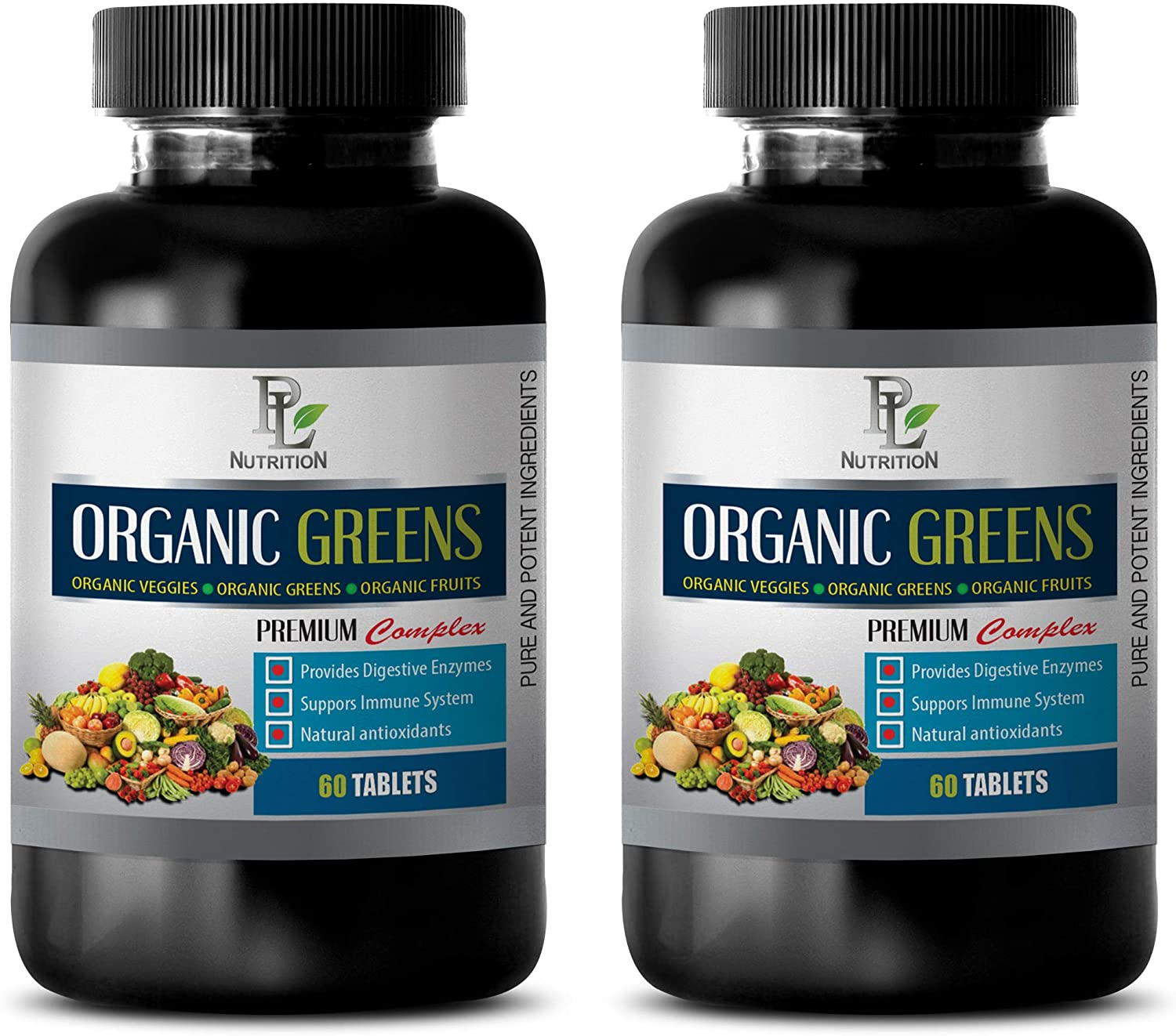 Heart Health multivitamin - Greens Premium Organic Complex - Strawberry Extract Natural - 2 Bottles 120 Tablets