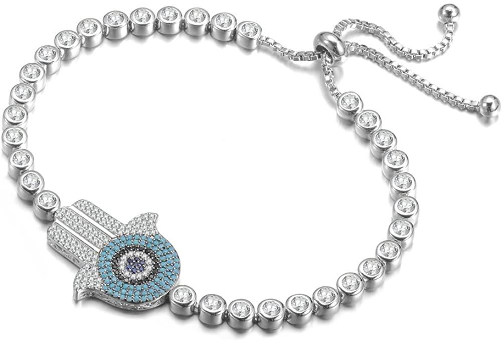 KIVN Fashion Jewelry Adjustable Hamsa Evil Eye Pave CZ Cubic Zirconia Wedding Bridal Bracelets for Women