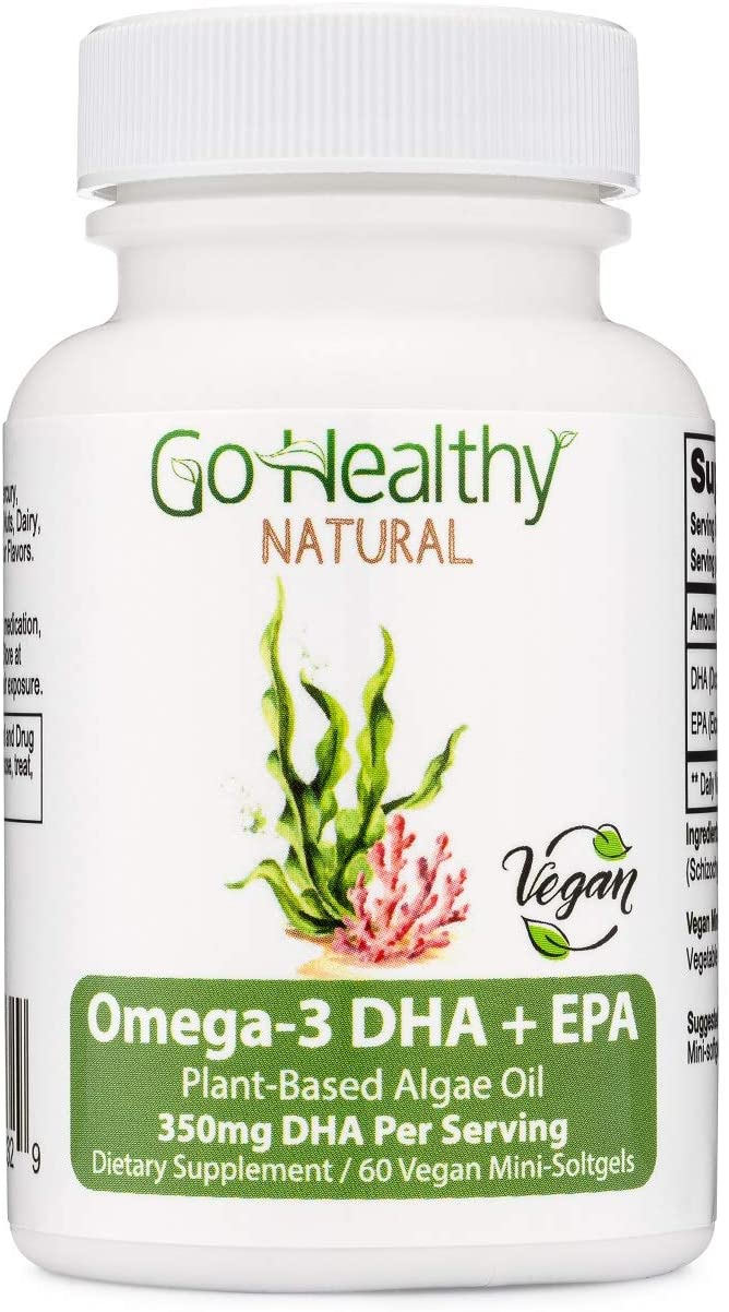Go Healthy Natural Omega-3 DHA + EPA Plant-Based Algae Oil, Vegan Mini-softgels-350mg DHA Per Serving (60)