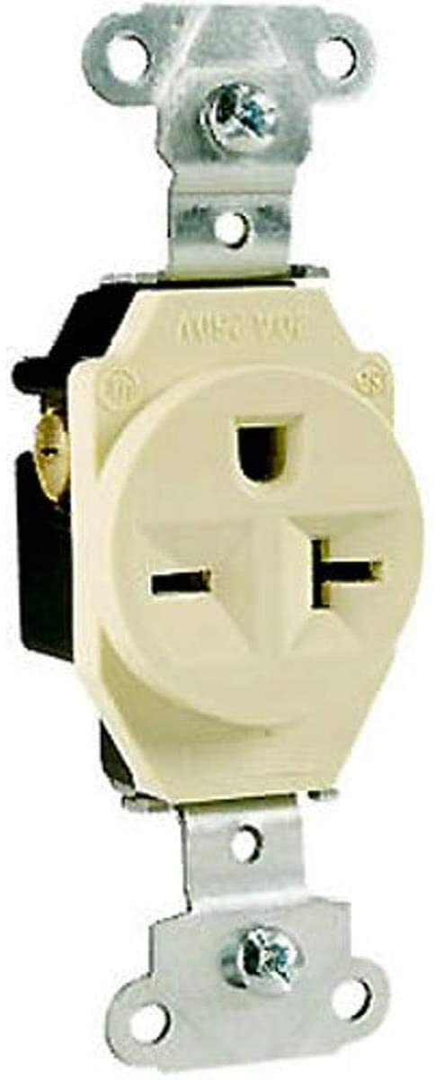 Legrand-Pass & Seymour 5851ICC8 Specification Grade Single Receptacle 20-Amp 250-volt, Ivory