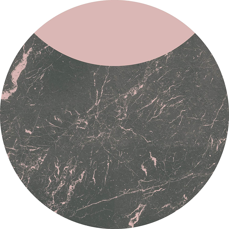 Komar D1-006 Dot, selbstblebende Vlies Fototapete Self-Adhesive and Round Photo Wallpaper, Größe: 125 x 125 cm, Grey, Pink