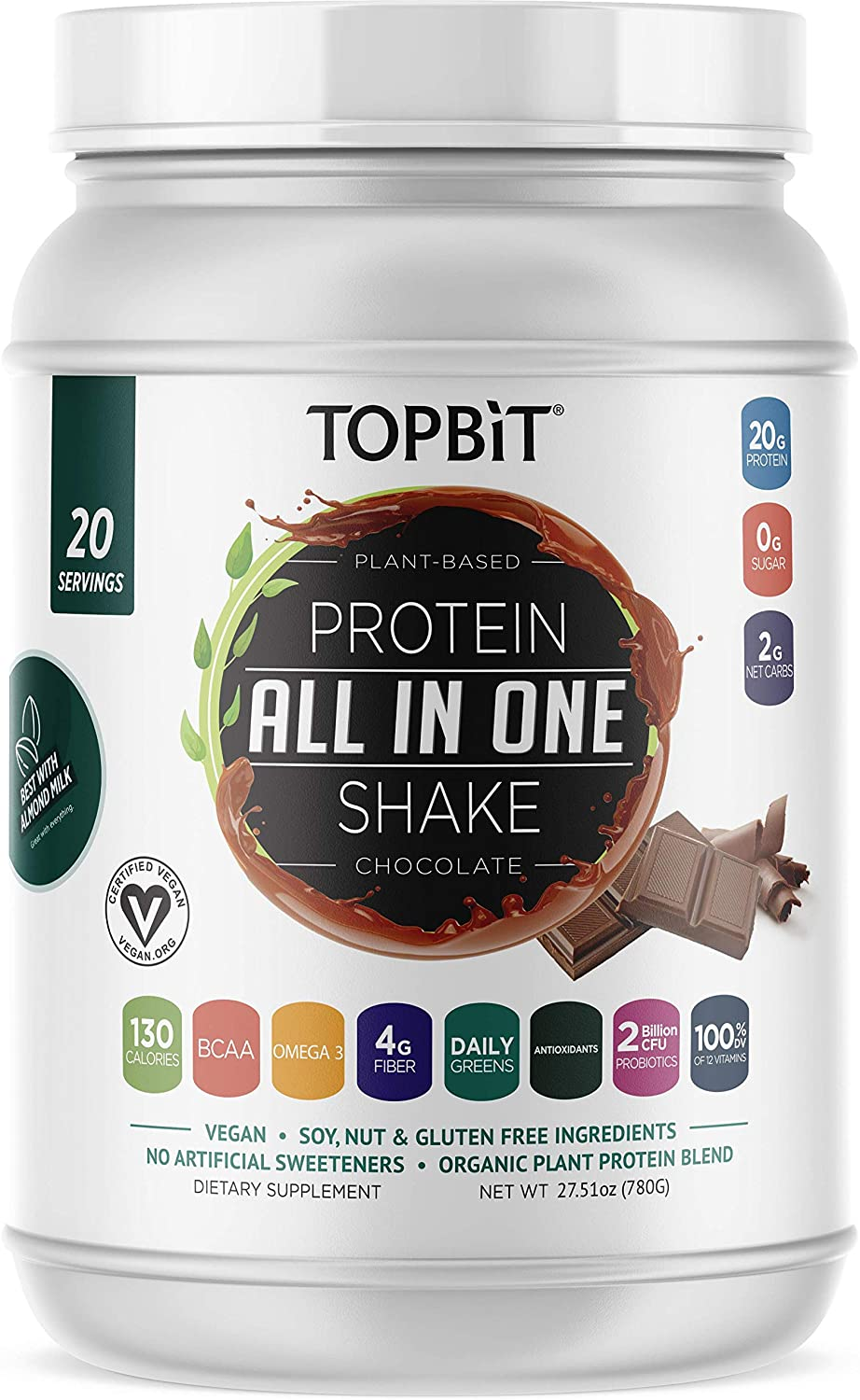 TOPBiT All-in-One Plant Protein Powder, Chocolate – Vegan Protein Powder, Sugar Free Protein, Stevia Free, Nut Free, Soy Free, 20g Protein Shake, Probiotics, BCAA, Greens, 1.8LB