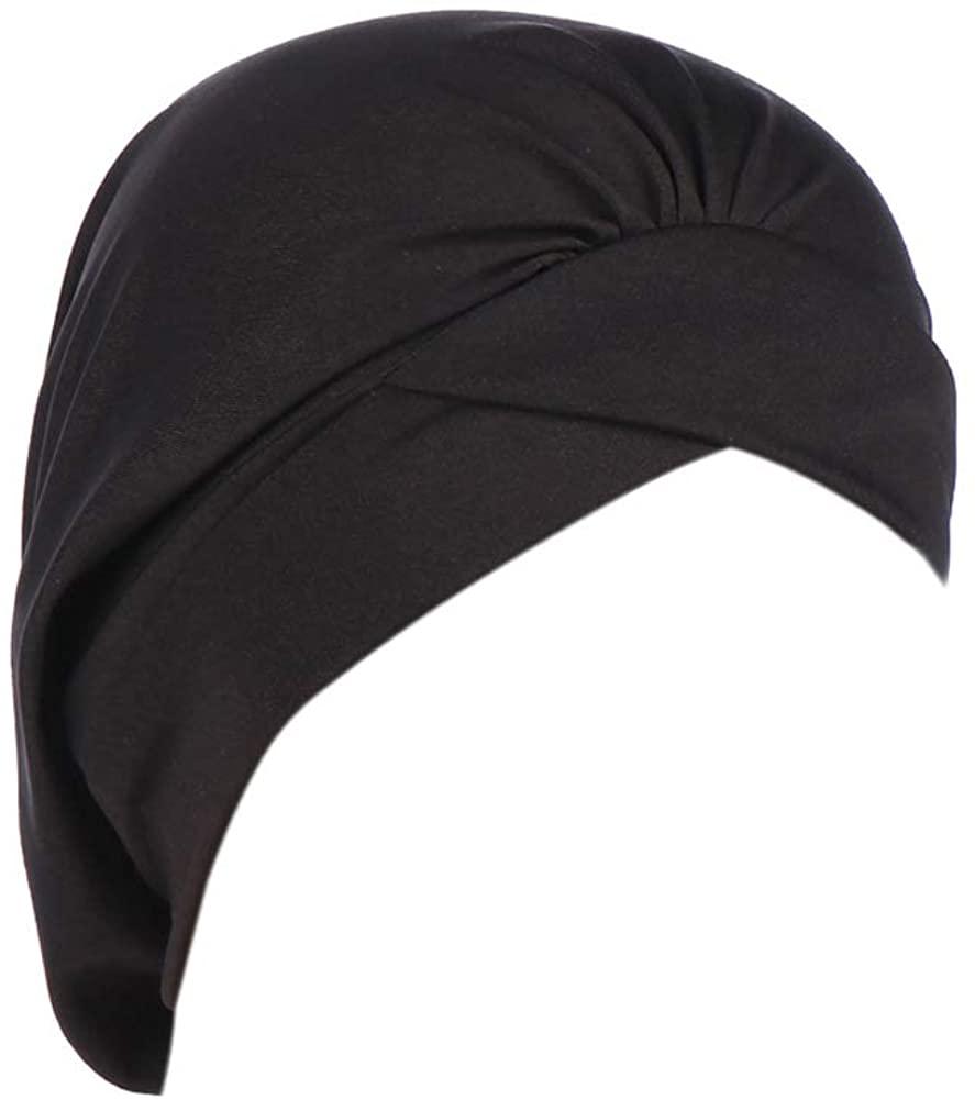 Fxhixiy Women's Ruffle Soft Silky Turban Elastic Wide Band Satin Bonnet Night Sleep Hat Hair Loss Cap