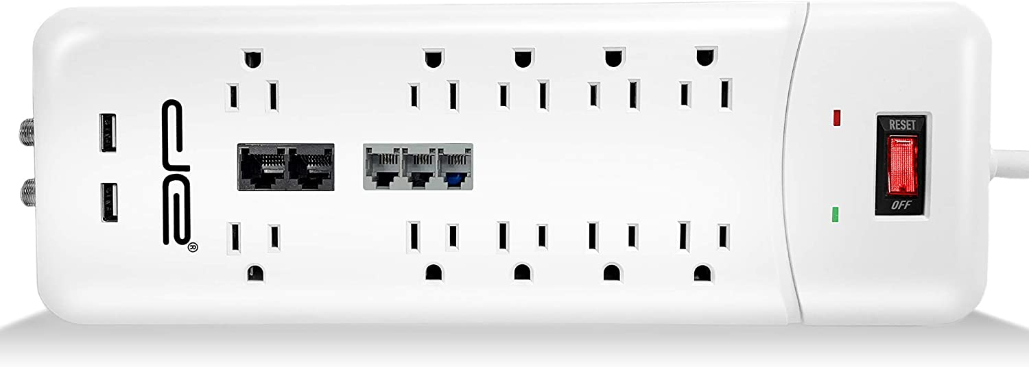 Digital Energy 25-ft Heavy Duty 10-Outlet 3500 Joules Surge Protector Power Strip, 25 Foot Long Extension Cord, Two USB Charging Ports, Coaxial, Phone Protection, ETL Listed. 15 AMP, White