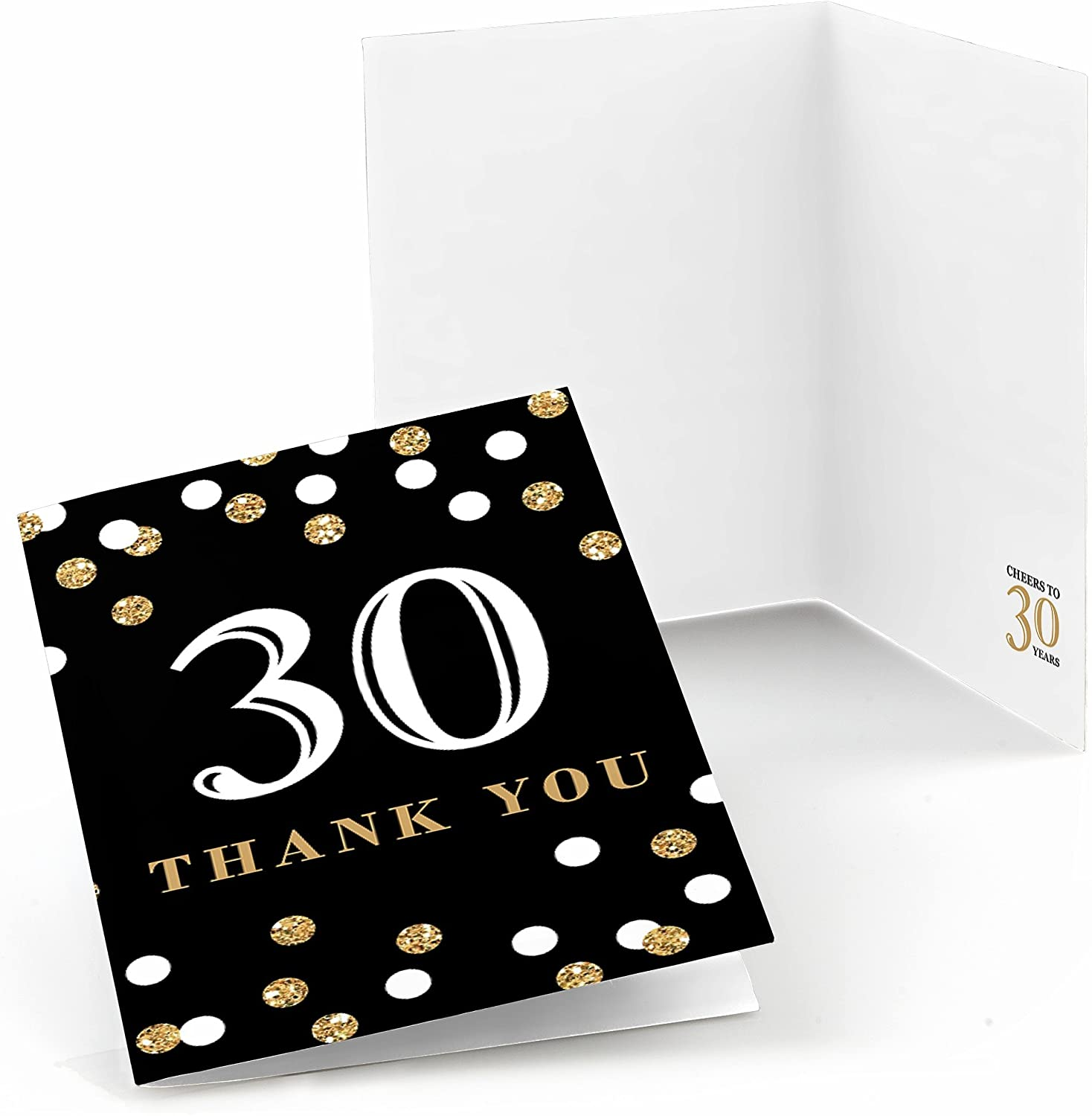 Big Dot of Happiness Adult 30th Birthday - Gold - Birthday Party Thank You Cards (8 Count)