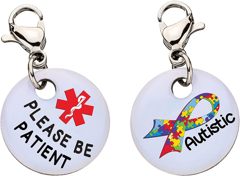 Autistic Please Be Patient Snap-On Bracelet Charm-Parent (Stainless Steel),91