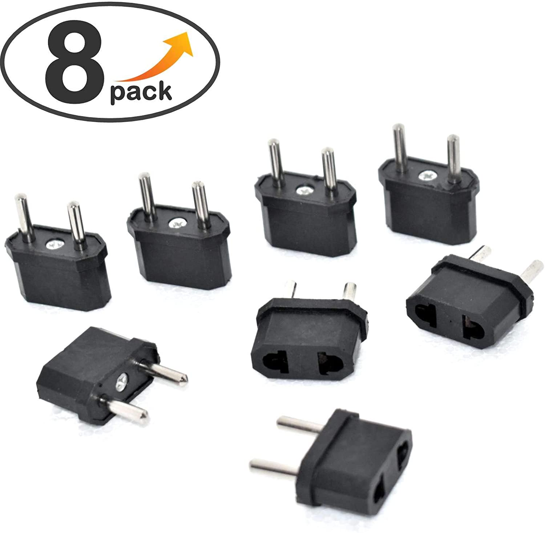 SAISDON- Universal 2 Pin Flat American Us Usa To Eu Euro Europe European Socket Outlet Plug Adapter Travel Wall Ac Power Charger Outlet Adapter Adaptor Converter 2 Round Socket Input Pi [8 Pieces]#139