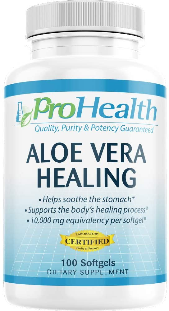 ProHealth Aloe Vera Healing Gels (10,000 mg, 100 softgels) Supports Digestive Tract Health | Soothes The Stomach | Dietary Supplement