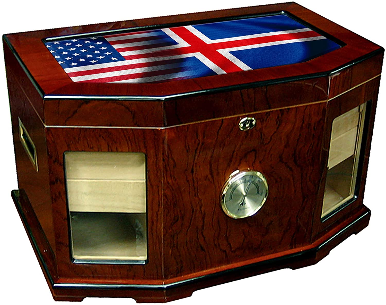 Large Premium Desktop Humidor - Glass Top - Flag of Iceland (Icelander) - Waves with USA Flag - 300 Cigar Capacity - Cedar Lined with Two humidifiers & Large Front Mounted Hygrometer.