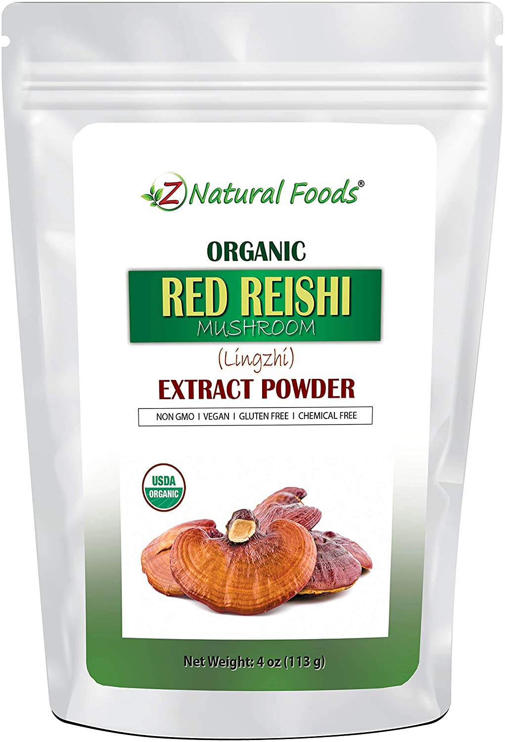 Organic Red Reishi Mushroom Powder - 4:1 Extract - Support Immune System & Get Restful Sleep - Supplement for Coffee, Tea & Smoothie - Vegan, Non GMO, Gluten Free, Kosher - Lingzhi or Ling Zhi - 4 oz